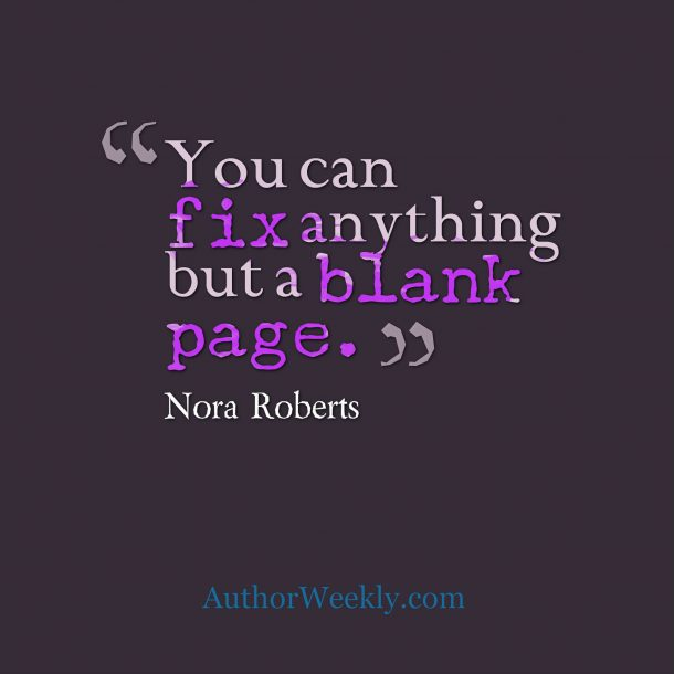 Nora Roberts Writing Quote Blank Page