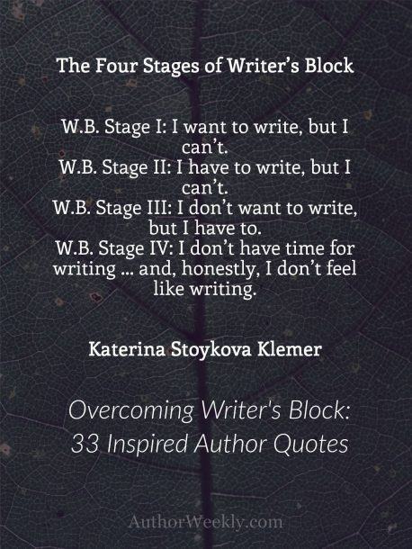 Katerina Stoykova Klemer on Writer's Block: Quote