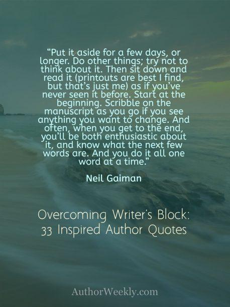 Neil Gaiman Quote on Writer's Block